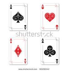 set four aces deck cards stock vector 661090342