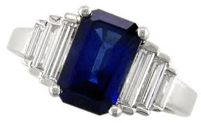 sapphire emerald cut engagement rings sapphire and ring in platinum bijoux extraordinaire