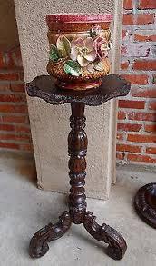 Plant Pedestal Antique English Carved Oak Pedestal Plant Stand Table Bronze