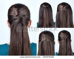 step by step hairstyles for long hair with bangs and curls simple halfup hairstyle pins tutorial step stock photo 502878466