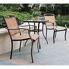 High Bistro Table Set Outdoor Amazon Com 3 Pc High Top Bistro Table Chairs Set Slingback