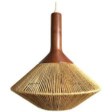 Wicker Pendant Light by Mid Century Modern Danish Pendant Light In Jute And Teak By Fog
