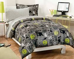 Black And Green Bedding Black Gray Skateboard Bedding Teen Boy Twin Or Full Comforter Set