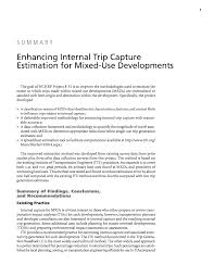 Trip Generation Spreadsheet Summary Enhancing Internal Trip Capture Estimation For Mixed Use