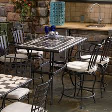 Bar Height Patio Dining Set by Alfresco Home Gibraltar 4 Person Mosaic Counter Height Dining Set