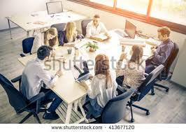 stock photo company meeting young business people modern office stock photo 413677120
