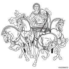 charioteer in a roman quadriga chariot pulled by four horses