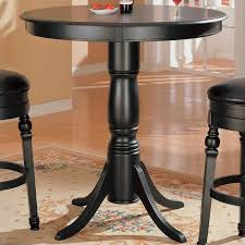 black high table and chairs coaster lathrop classic round pedestal pub table in black finish