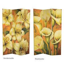 paravent holz garten gelbe blumen dekowand raumteiler paravent holz trennwand 3 panele