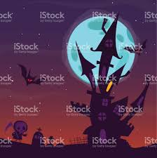 halloween background with purple spooky old haunted house with ghosts halloween cartoon background