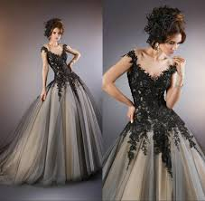 elegant see through black evening gowns 2014 lace appliques