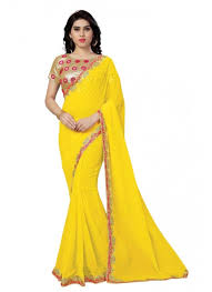 dress designer yellow and pink designer party wear saree