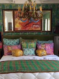 pattern mix layered pattern eclectic mix green bedroom