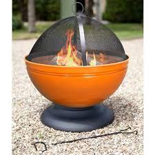 Fire Pit Globe by La Hacienda Globe Enamelled Orange Firepit With Grill 56cm Diameter