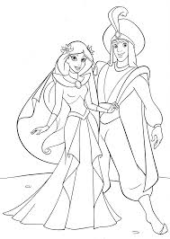 aladdin meet jasmine coloring pages coloringstar