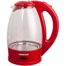Red Kettle And Toaster Farberware 1 7 Liter 360 Degree Glass Kettle Red Walmart Com