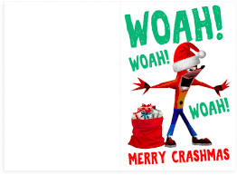 Woah Meme - crash bandicoot woah jingle bells holiday christmas card plays