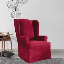sure fit slipcovers wing chair sure fit stretch suede wing chair slipcover free shipping today