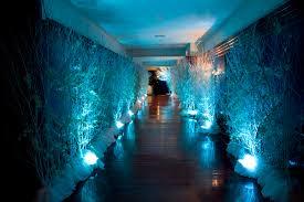 ice blue uplights loving this for winter weddings lighting