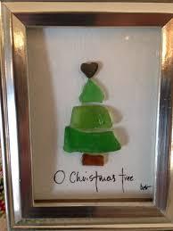 Beach Christmas Tree Topper - sea glass christmas tree framed in a 2x3 shallow shadow box frame