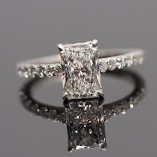 radiant cut engagement ring radiant cut solitaire engagement ring with diamonds on band