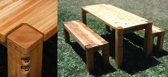 BOLT CEDAR PATIO TABLE  BENCHES Farmhouse Patio Furniture - Cedar outdoor furniture