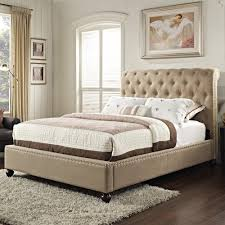 Tufted King Bed Frame Standard Furniture Stanton Upholstered King Bed With Rolled And