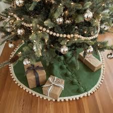 brown christmas tree skirt pom pom tree skirt magnolia chip joanna gaines