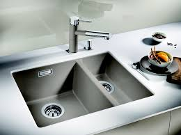 Colored Kitchen Faucet Decorating Black Blanco Sinks And Kitchen Faucet On Brown Wooden
