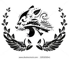 black white floral silhouette panther head stock vector 320325041