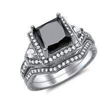 princess cut black engagement rings 1 90ct princess cut black engagement ring bridal set 14k