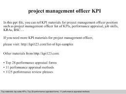 project management officer kpi