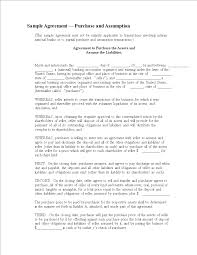 free purchase and assumption agreement templates at