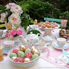 easter tea party five o clock tea table decorated for easter tea time mesa de