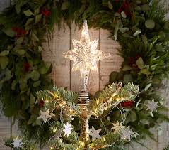 light up silver tree topper pottery barn