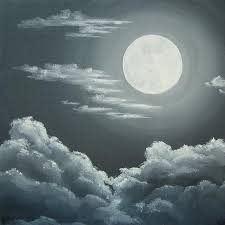 clouds a moon painting by bronwyn foley
