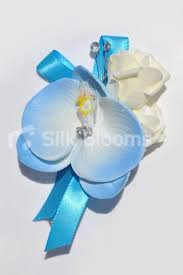 Blue Orchid Corsage Shop Ivory Rose U0026 Light Blue Orchid Artificial Wedding Pin On