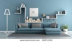 livingroom sofa blue living room sofa shelf 3d stock illustration 508713316