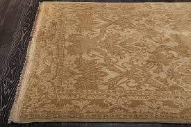 damask beige hand knotted wool rug 36267
