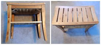 Outdoor Shower Bench Bamboo Shower Seat With Shelf Diy Guide