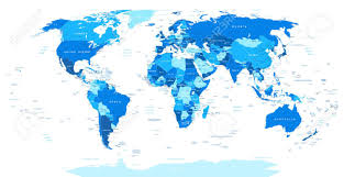 world map political with country names free blue world map borders countries and cities illustration