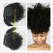 Pony Wrap Hair Extension by African American Short High Afro Puff Virgin Indian Drawstring