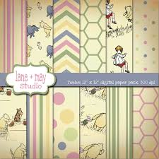 Winnie The Pooh Nursery Curtains by Classic Winnie The Pooh Digital Scrapbook Papers 7 50 Via Etsy