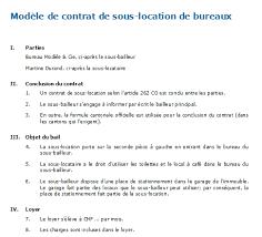 loyer bureau contrat de sous location de bureaux modèle à télécharger