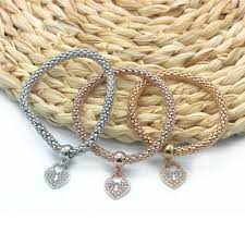 rose gold heart charm bracelet images Tri colored heart charm bracelets heart charm bracelet set and jpg