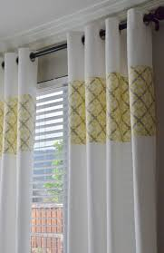 white curtains with grey flowers yellow and gray floral pattern