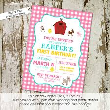 farm birthday invitation pink gingham barn animals baby