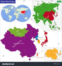 Asia Map Countries by Color Map Eastern Asia Divided By Stock Illustration 167756708