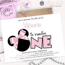 minnie mouse birthday invitation pink bow modern birthday
