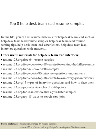 help on resume top8helpdeskteamleadresumesamples 150723080617 lva1 app6892 thumbnail 4 jpg cb 1437638828